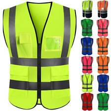 Mens Hi Viz Safety Vest High Visibility Reflective Work Jacket Waistcoat Top Us