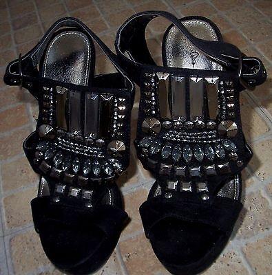 Miss Selfridge Negro Imitación Gamuza Perla Joya Plata Bloque Talón Alto Zapatos Talla 3