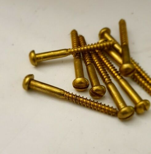 """5.0 x 50mm SOLID 10 x 2/"""" BRASS ROUND HEAD WOOD SCREWS SLOTTED BARGAIN"""