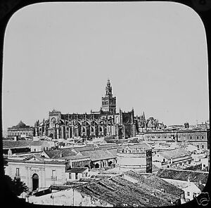 Glass-Magic-Lantern-Slide-SEVILLE-CATHEDRAL-AND-CITY-C1890-PHOTO-SPAIN