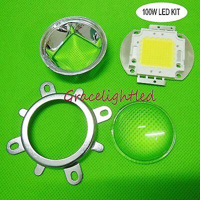 100W white 10000K Blue led chip +44mm Lens + Reflector bracket for diy led kit
