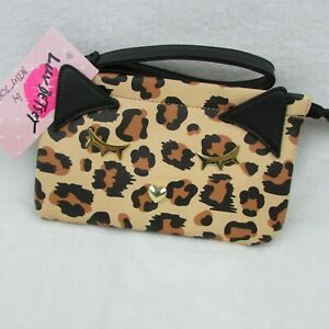 New-Luv-Betsey-Johnson-Leopard-Double-Pouch-Wristlet-Black-Cat-LBpouch-48
