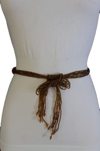 Women Hip Waist Fashion Brown Bead Wrap Tie Belt Vintage Gold Metal Charm M L XL