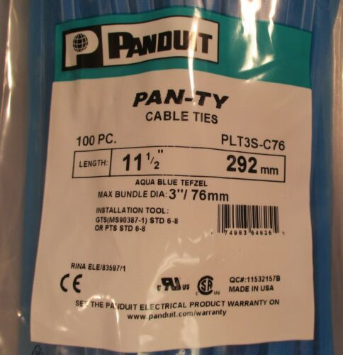 "Panduit Pan-Ty Cable Ties PCT3S-C76 Bag of 100 Aqua Blue Tefzel 11-1//2/"" Long New"