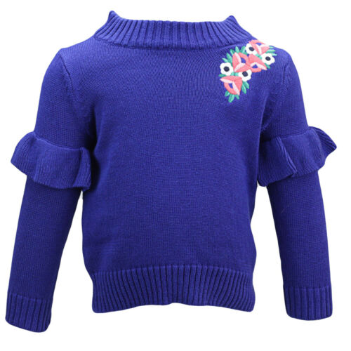 Janie And Jack Girl/'s Embroidered Ruffle Sweater