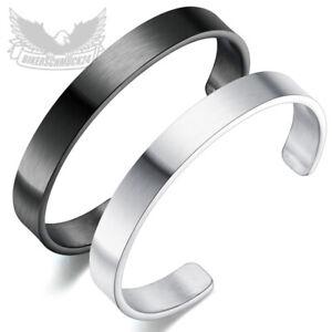 Schlichter Herren Armreif Edelstahl 316L silber schwarz Männer Armband Geschenk