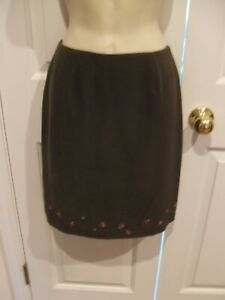 NWT-CASUAL-CORNER-ANEX-PETITE-FLORAL-BEADED-HEM-FULLY-LINED-SKIRT-SIZE-P8