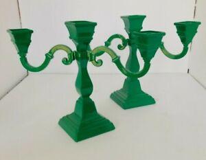 Vintage RARE Set of two GREEN ENAMEL CANDELABRAS Each holds 3 Candles