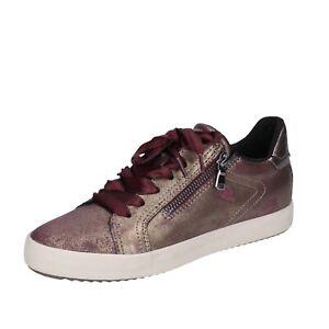 Scarpe donna GEOX 39 EU sneakers bordeaux pelle sintetica bronzo BJ564-39