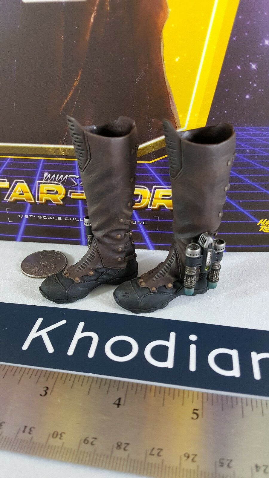 Hot Juguetes MMS255 Genuino Guardianes Galaxia Estrella Lord Figura de Acción botas de 1 6