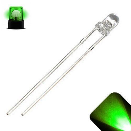 100 x LED 3mm Pure Green Slow Flashing Blinking Strobe Ultra Bright LEDs 1Hz PC