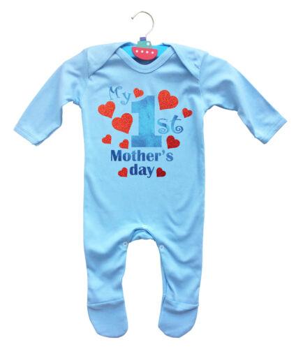 Mon 1st mother/'s day bleu clair bébé rompersuit avec cœurs rouges.