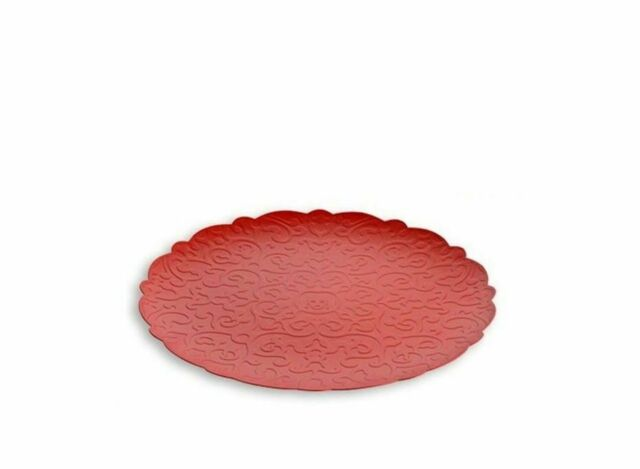 Plateau Rond Round Tray Alessi MW07 R Dressed in 18/10 Stainless Steel Red