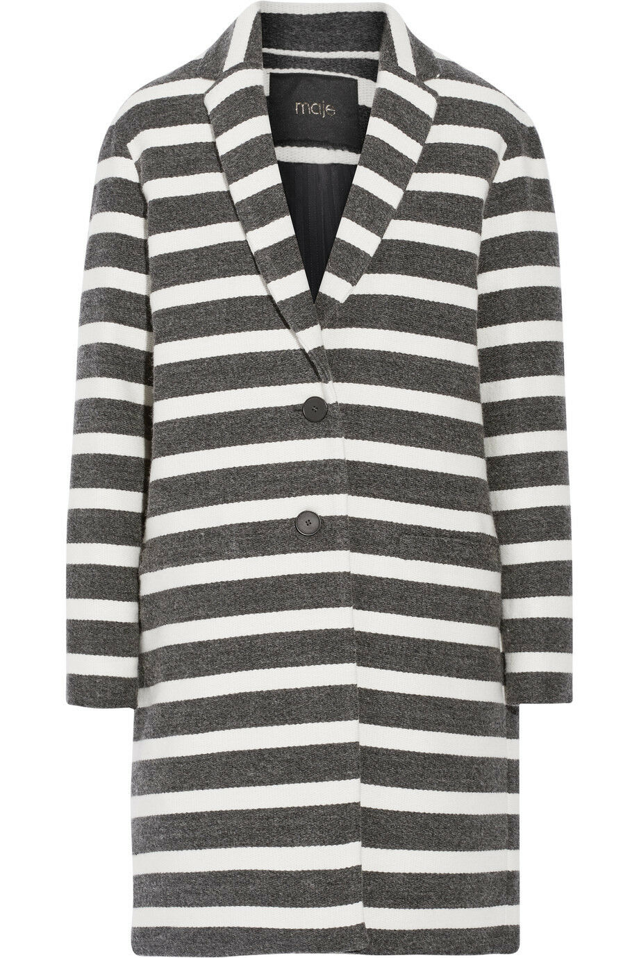 Maje grey and white striped coat French 36 UK8