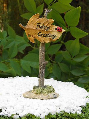 "Miniature Dollhouse FAIRY GARDEN Accessories ~ ""Fairy Crossing"" Sign ~ NEW"