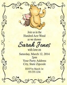 Winnie pooh piglet baby shower or birthday party invitations image is loading winnie pooh piglet baby shower or birthday party filmwisefo
