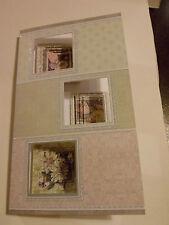 Handmade Decoupage Card with blank insert  3 Windows with flowers inside