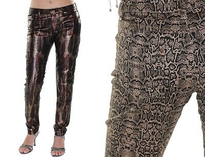 Skinny Jeans Snake Animal Print Pants Metallic Stretch Spandex Slimming trousers