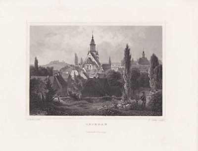 Oederan Erzgebirge Kirche Rathaus Stahlstich Oeder 1850