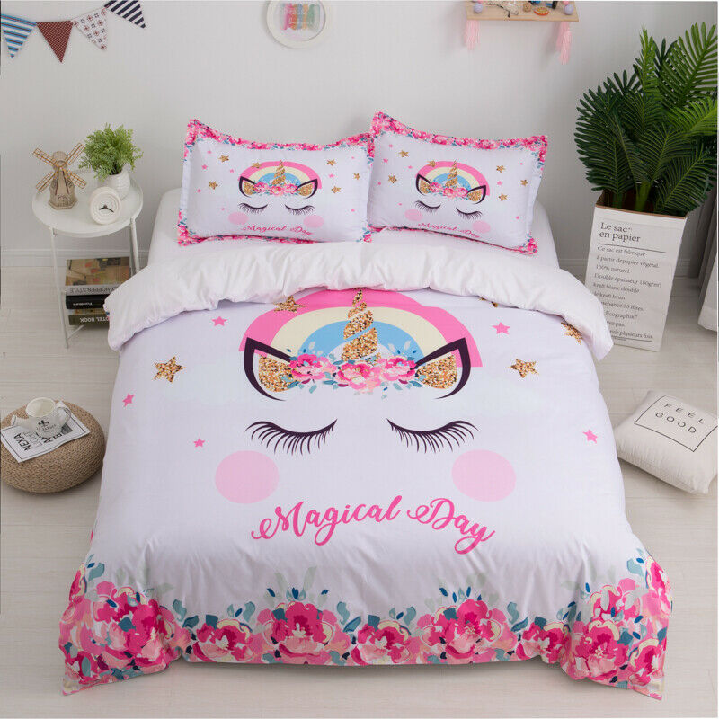 Bedding Set Eyelash Unicorn Smile Face Duvet Cover Twin Queen Size for Kids New