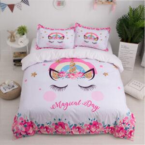 Unicorn Bedding Set Eyelash Pink Flower Magical Duvet