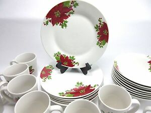 Image is loading Gibson-Home-Christmas-Poinsettia-Dinnerware-Set-of-4- & Gibson Home Christmas Poinsettia Dinnerware Set of 4 Luncheon Snack ...