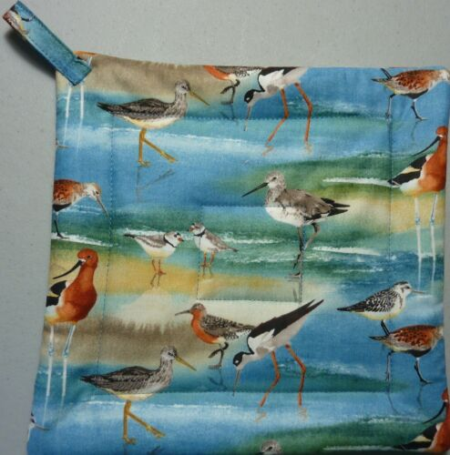 Quilted SHORE BIRDS// Yellow// Green// Blue: Deluxe Hot Pad// Pot Holder