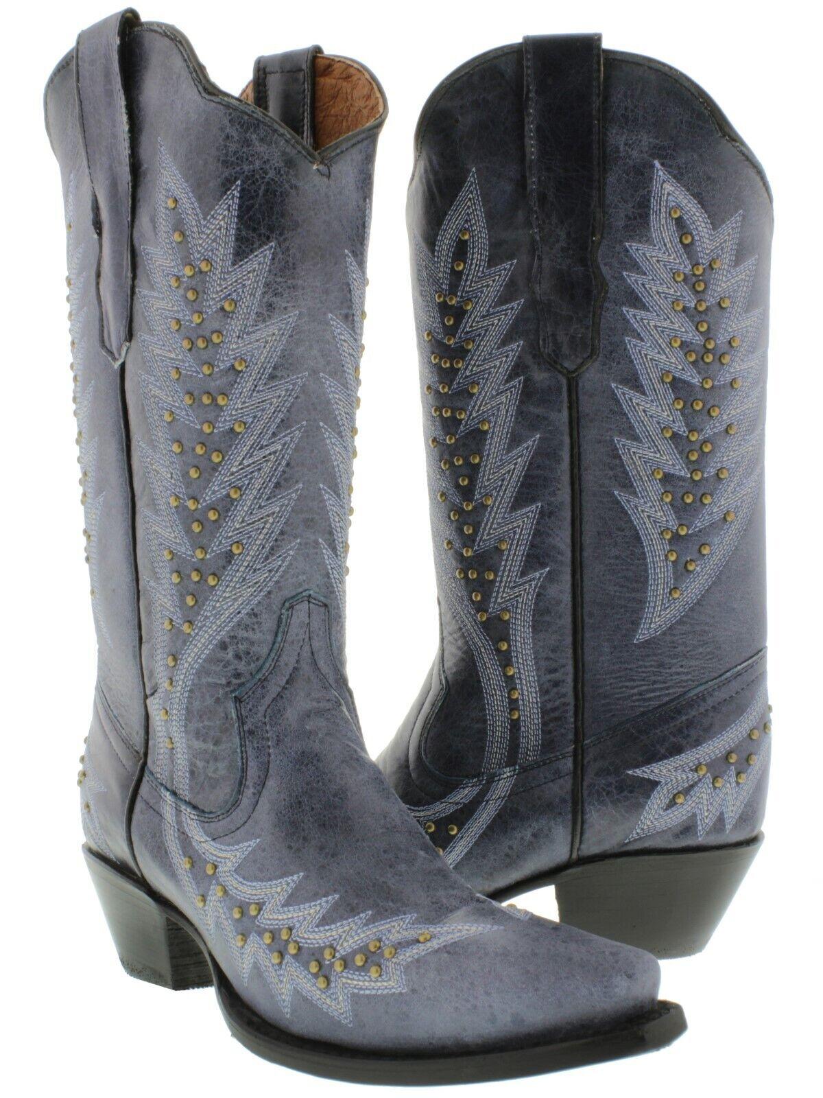 kvinnor Denis blå Studded Cowgirl stövlar guld Genuine läder Sniper Toe Storlek 5.5