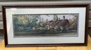 034-An-English-Cottage-034-PAUL-LANDRY-Framed-Matted-signed-limited-edition-Litho