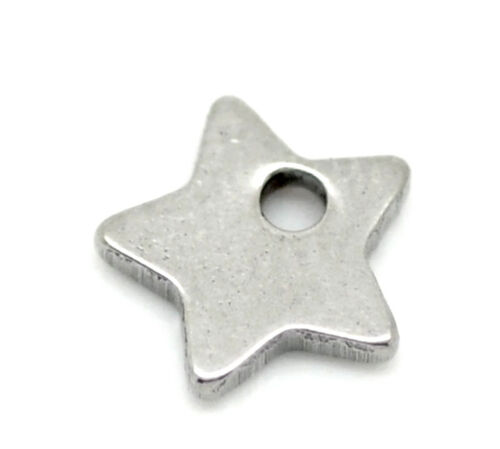"""2//8/""""x 2//8/"""" 50PCs Silver Tone Stainless Steel Charm Pendants 6mmx6mm"""