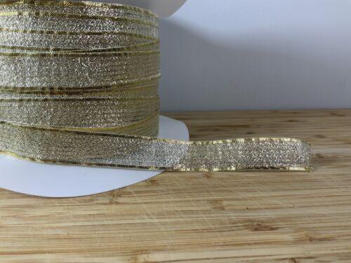 GOLD LUREX Noël Ruban 15 Mm NOEUD de NOEL vendu comme 2 M Wedding Craft UK