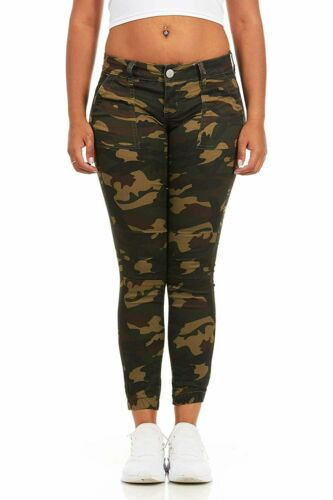 CG JEANS Women/'s Juniors Army Camo Camouflage Skinny Ladies Stretch Joggers