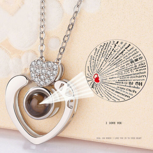 100 Languages Light Projection I Love You Heart Pendant Necklace Lover Jewelry9H