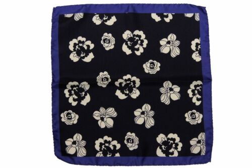 pure silk Battisti Pocket Square Blue with navy /& white floral pattern