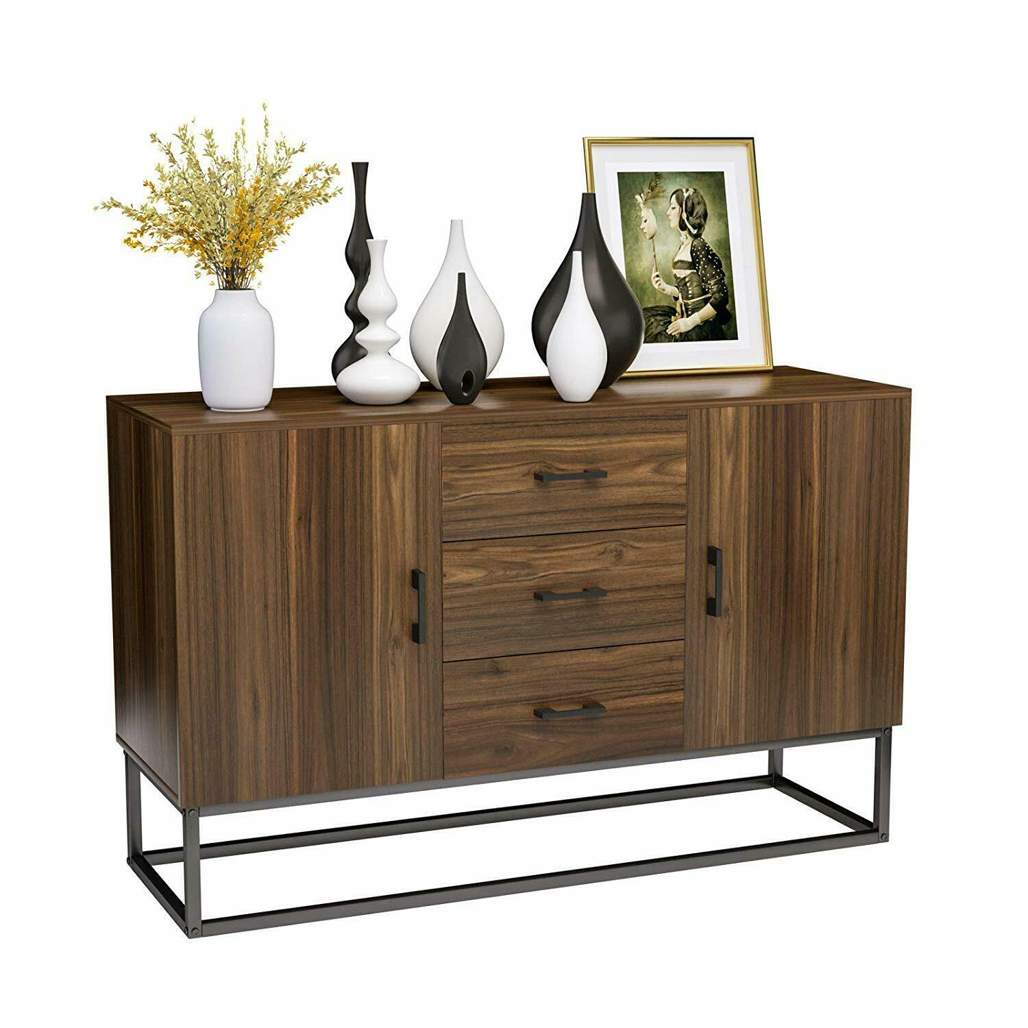 Wooden Sideboard Buffet Storage Cabinet W 3 Drawers 2 Doors Console Table Desk For Sale Online Ebay