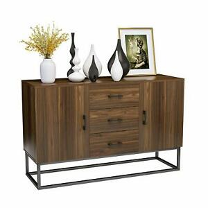 Wooden-Sideboard-Buffet-Storage-Cabinet-w-3-Drawers-2-Doors-Console-Table-Desk
