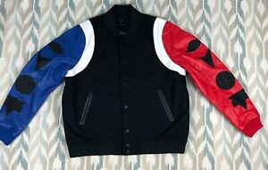 Nike-Air-Jordan-DNA-Varsity-Mens-Jacket-Top-3-Leather-Wool-Black-Bleu-Red-Size-L