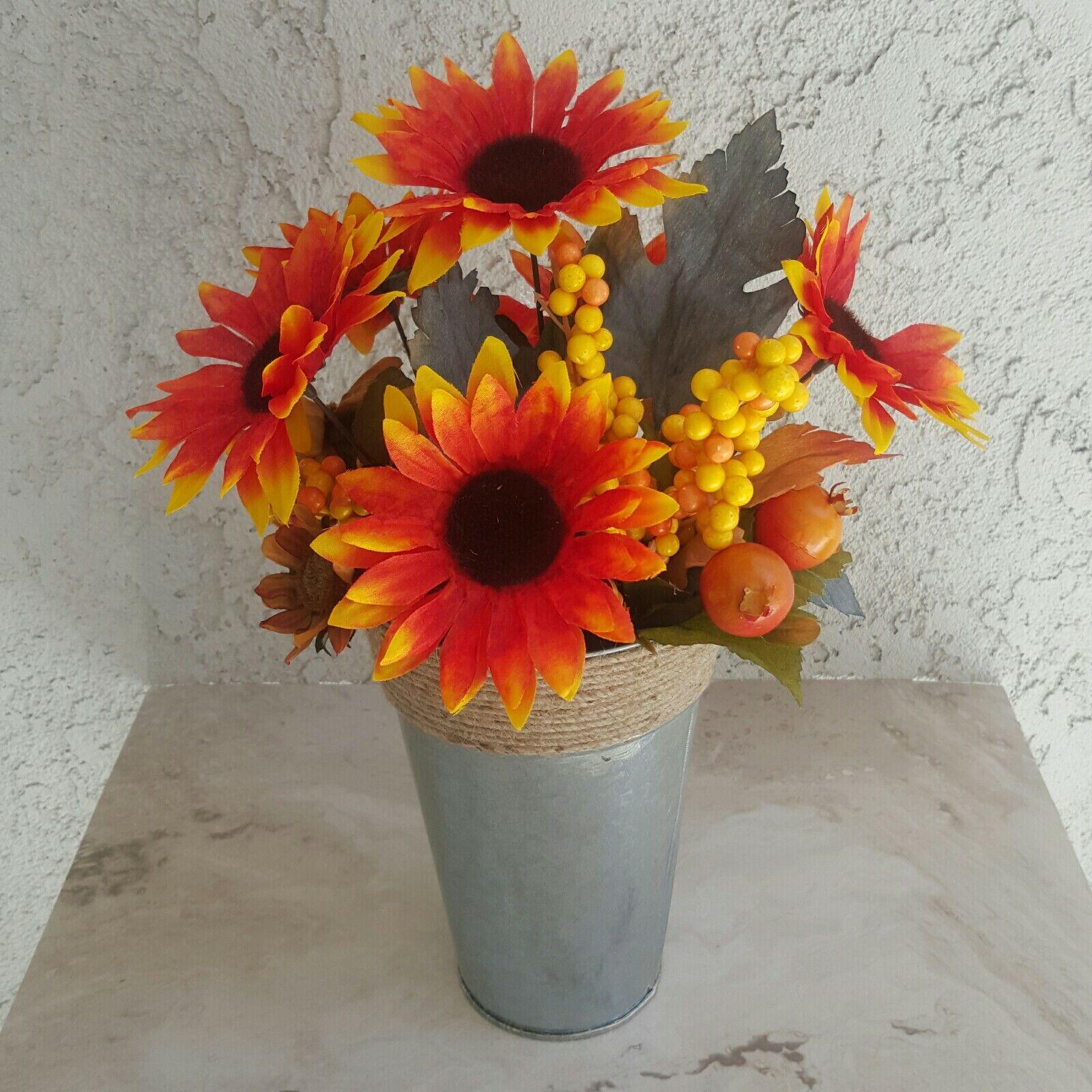 Rustic Autumn Floral Centerpiece Farm House Style Fall Round Arrangement For Sale Online