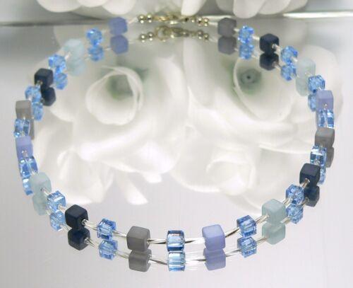 Kette Würfelkette Polaris Glas Würfel blau hellblau dunkelblau grau  362g