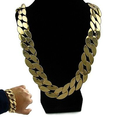 "Big Miami Cuban Link 30"" Necklace Gold Finish 25mm Thick Chain 20mm Bracelet Set"