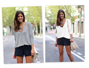 Bluse-Top-Shirt-Langarm-Hueftlang-V-Ausschnitt-L-XL-XXL-40-42-44