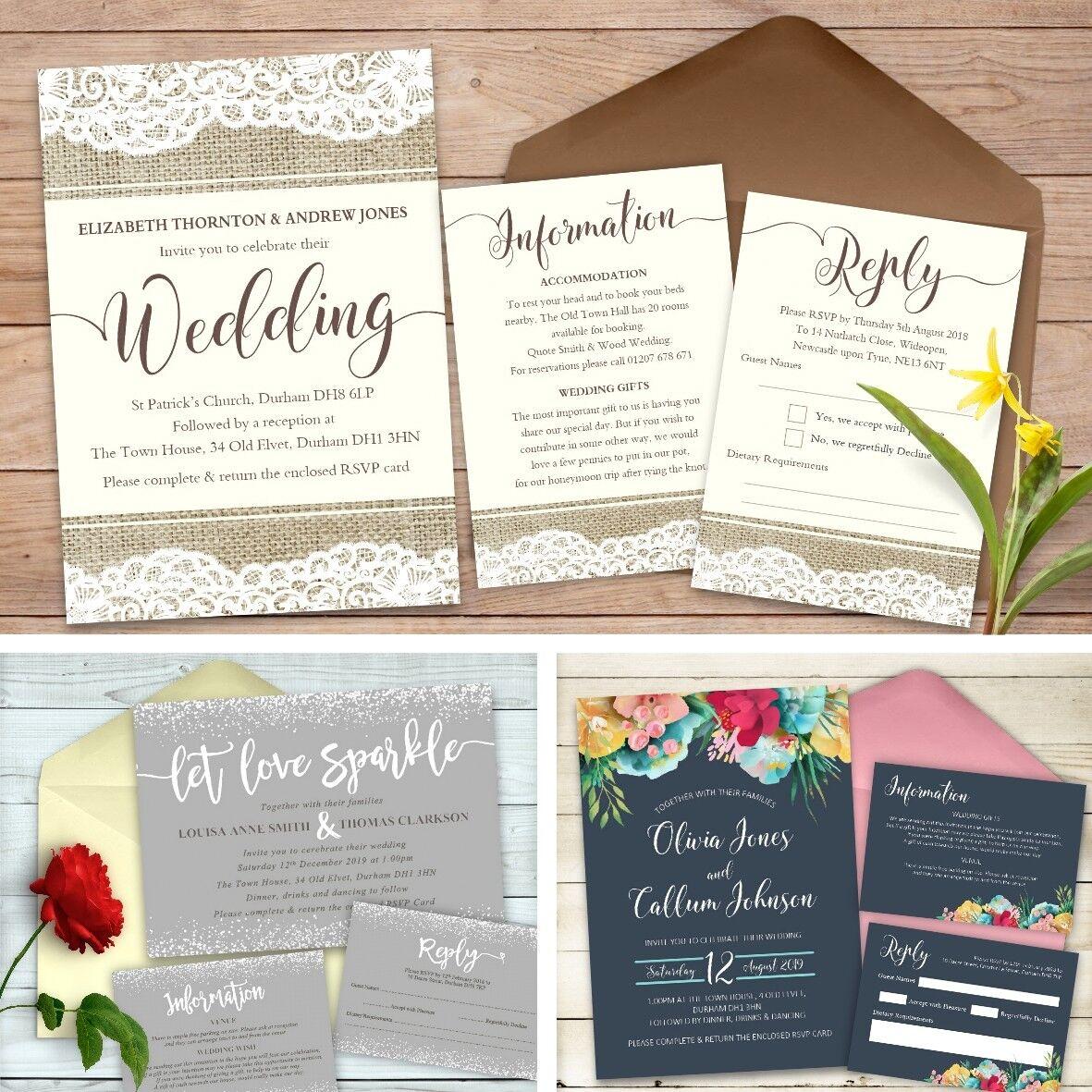 Mariagesoirée Invitation Set Rsvp Cartes Poème Cartes