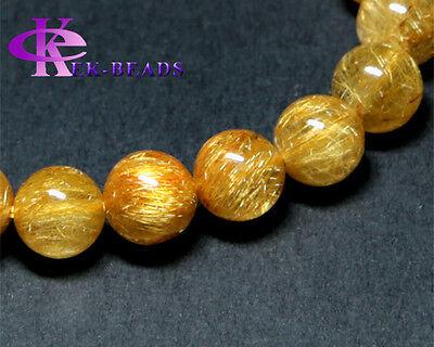 Wholesale Genuine Gold Hair Rutile Quartz Stretch Bracelet Round Beads Rutilated