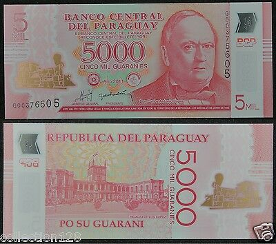 Paraguay Polymer Plastic Banknote 5000 Guaranies 2011 UNC