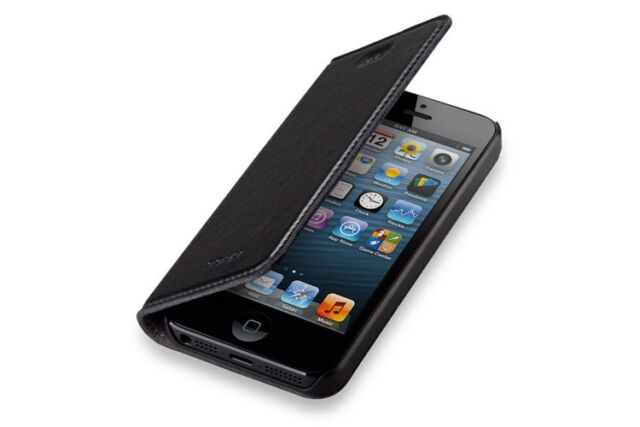GGMM New Genuine Real Leather Flip Hard Case Cover For iPhone 5 5S Flip + Film