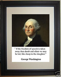 """President George Washington """" freedom"""" Quote Framed Photo Picture"""