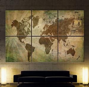 Weltkarte 6 leinwand bild bilder kunstdruck modern wandbild antik no poster xxl ebay - Weltkarte bild leinwand ...