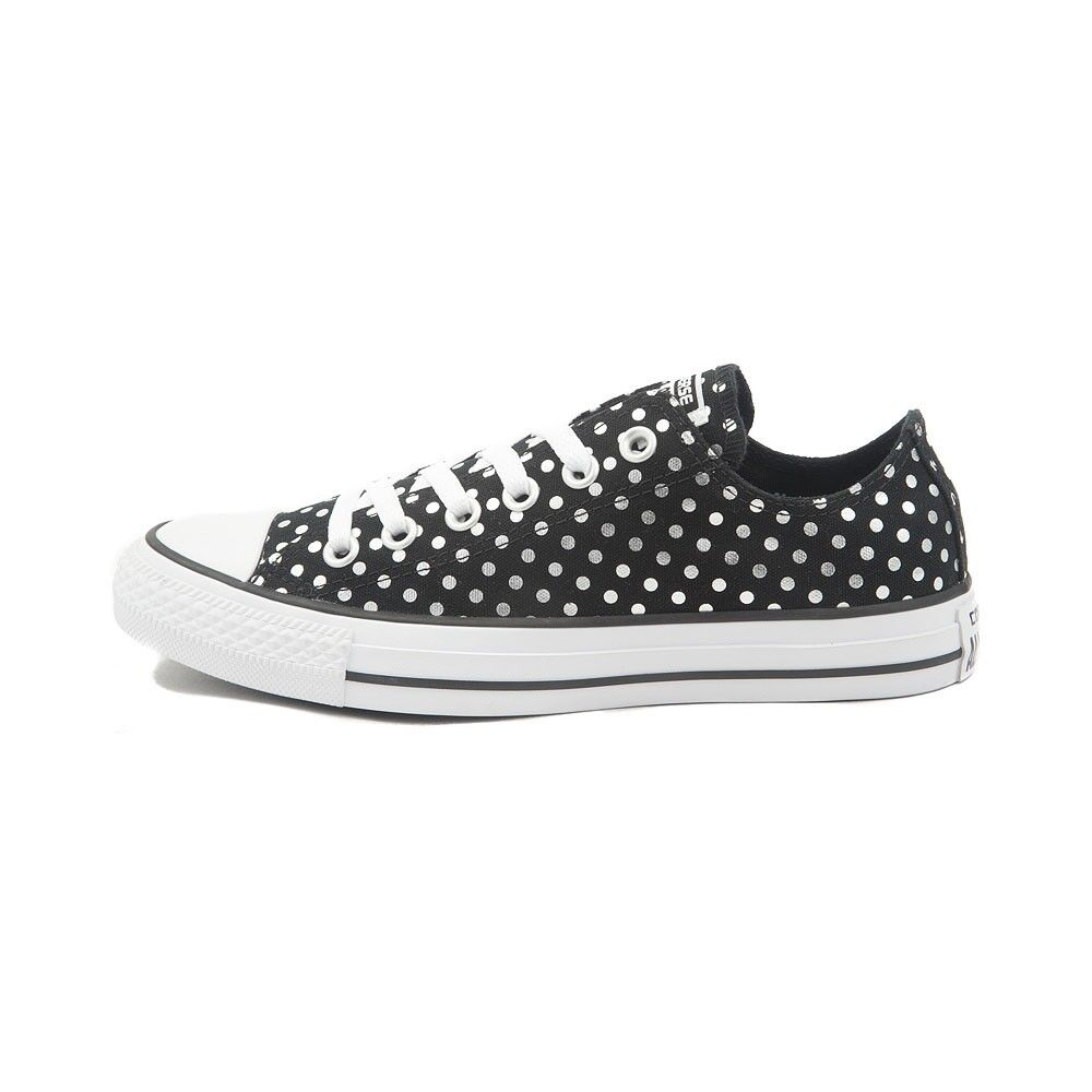 Black Silver Polka Polka Polka Dot Converse All Star Low Top Sneakers NEW 2ef09a