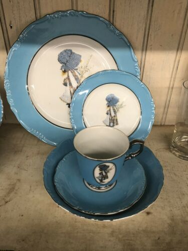 5 Piece Holly Hobbie Blue Girl Dishes ONE place setting