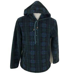 Vintage-L-L-BEAN-Plaid-Fleece-T-Snap-Pullover-Hoodie-Sweatshirt-Men-039-s-Women-s
